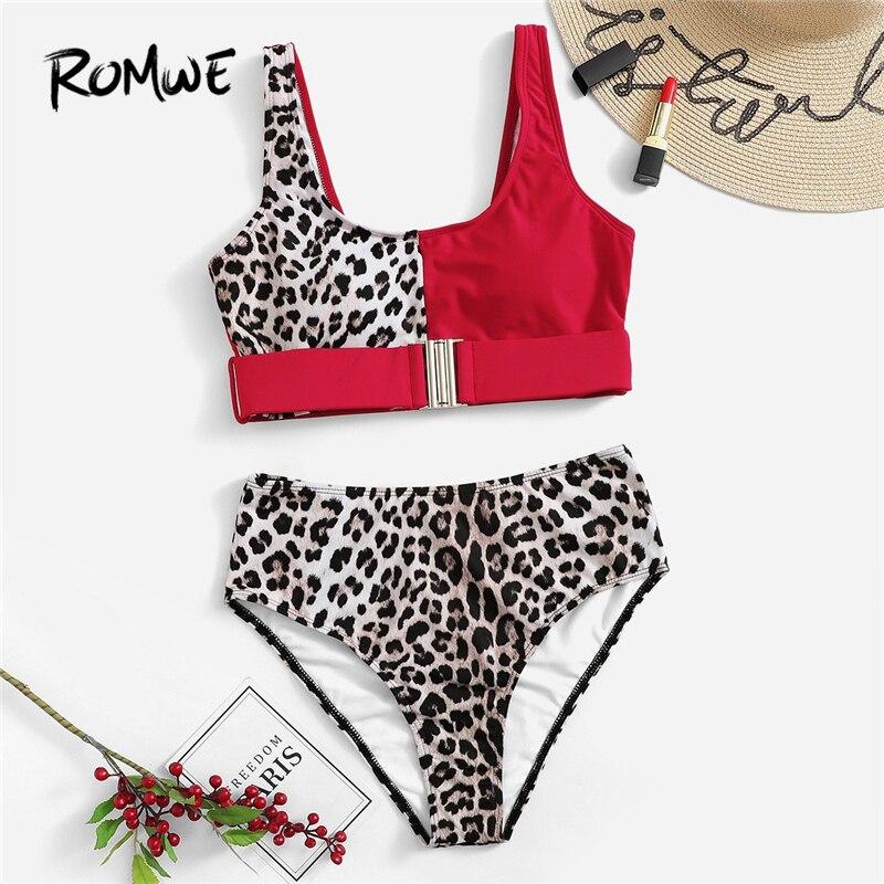 Romwe Sport Patchwork Leopard Buckle Front Bikinis High