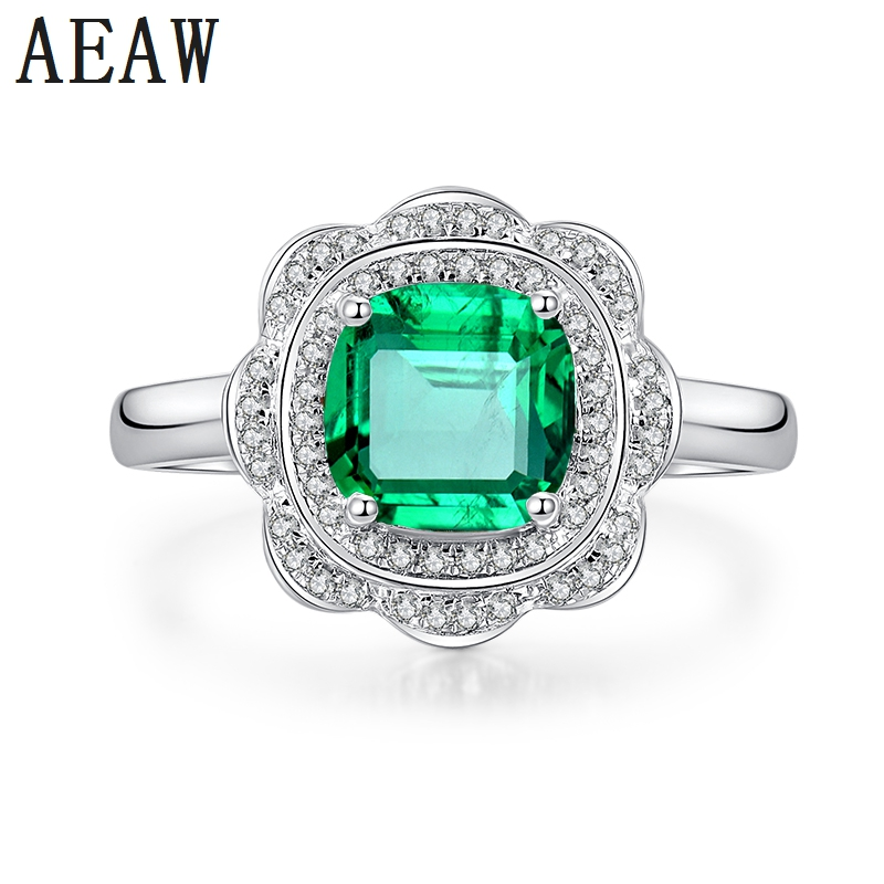 3.0CT Cushion Shape Lab Created Green Colombian AAA Emerald with Moissanite Engagement Ring Special Cluster Style 14K White Gold3.0CT Cushion Shape Lab Created Green Colombian AAA Emerald with Moissanite Engagement Ring Special Cluster Style 14K White Gold