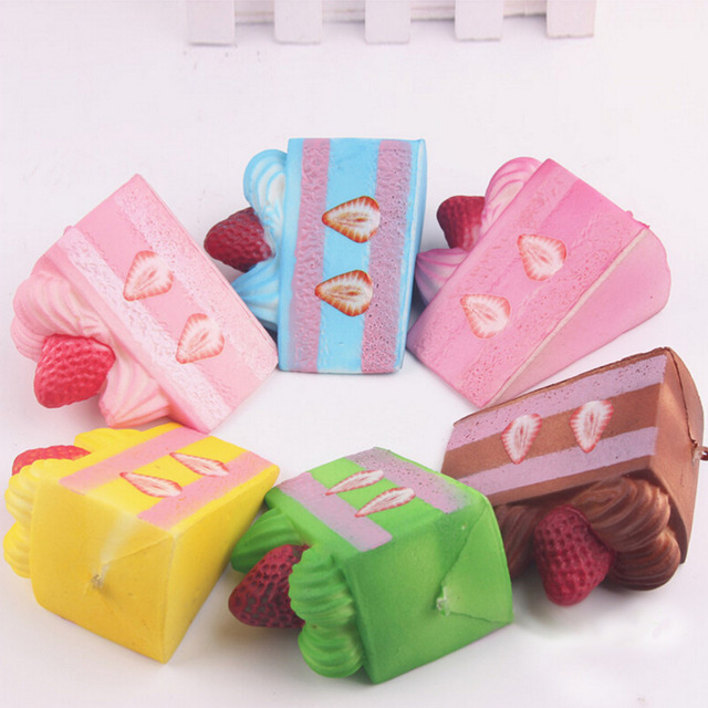 Squishy Slow Rising Strawberry Cake Jumbo Kawaii Phone Strap Bread Stretchy Kids Toy