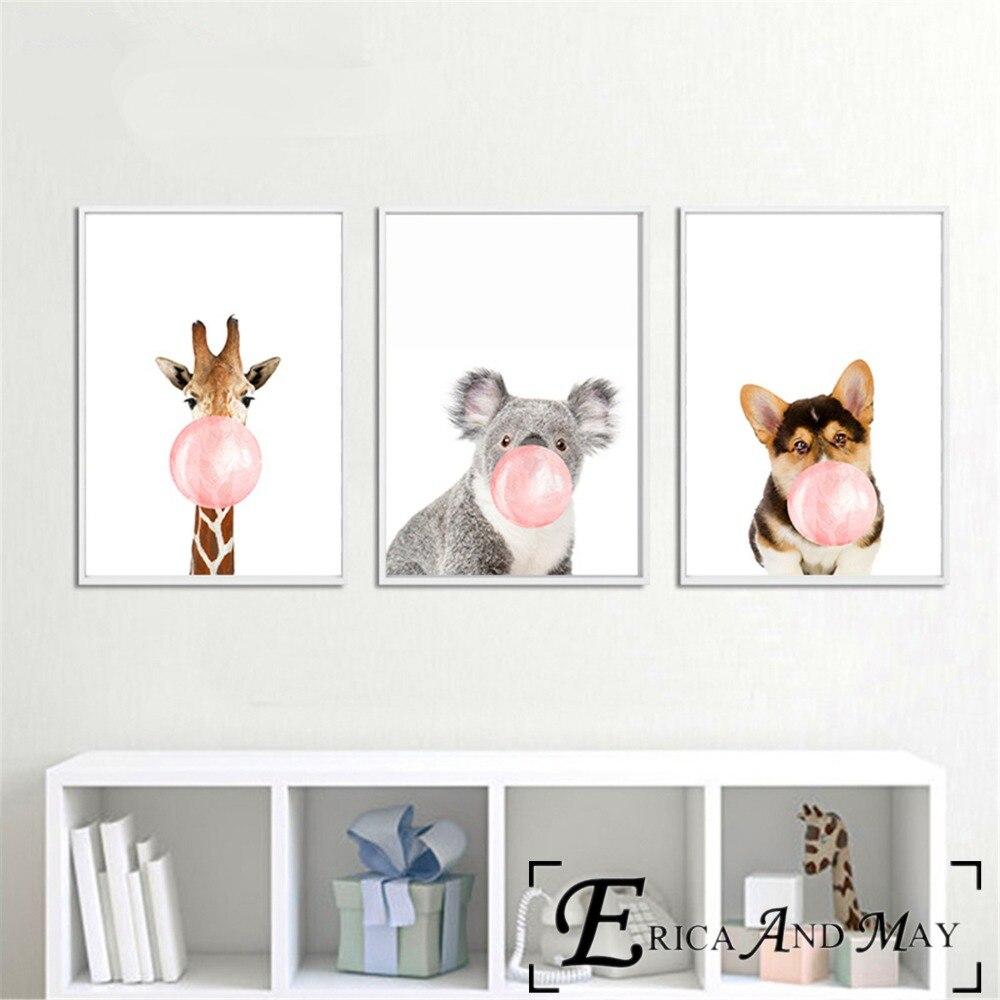 Животные жевательная резинка поп Книги по искусству работы Холст Картина Плакаты и принты для детской комнаты не оформлена стены Книги по и...