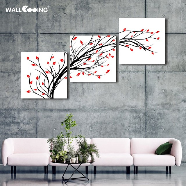 3 Panel Red And Black And White Pachira Tree Canvas Painting Living