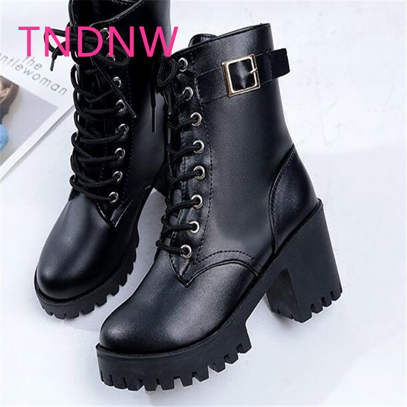 lady Martin boots ankle female British boots retro women winter warm thick botas square lace up buckon ankle boots plush velvet martin new winter with thick british style short canister female fall side zipper boots