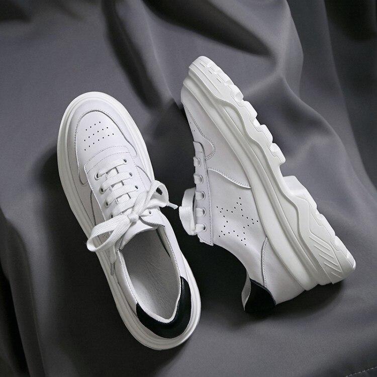 En Occasionnels Confortables Haute Appartements Sneakers Blanc Vache 2018 forme Chaussures Des De Plate {zorssar} Plat Qualité Femmes Véritable Cuir P1AYnwq