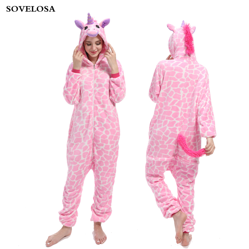 Winter Animal Sleepwear Unicorn Pajamas Onesie Sets Kigurumi Unicornio Women Men Unisex Adult Flannel Onesies for Adults Pyjamas