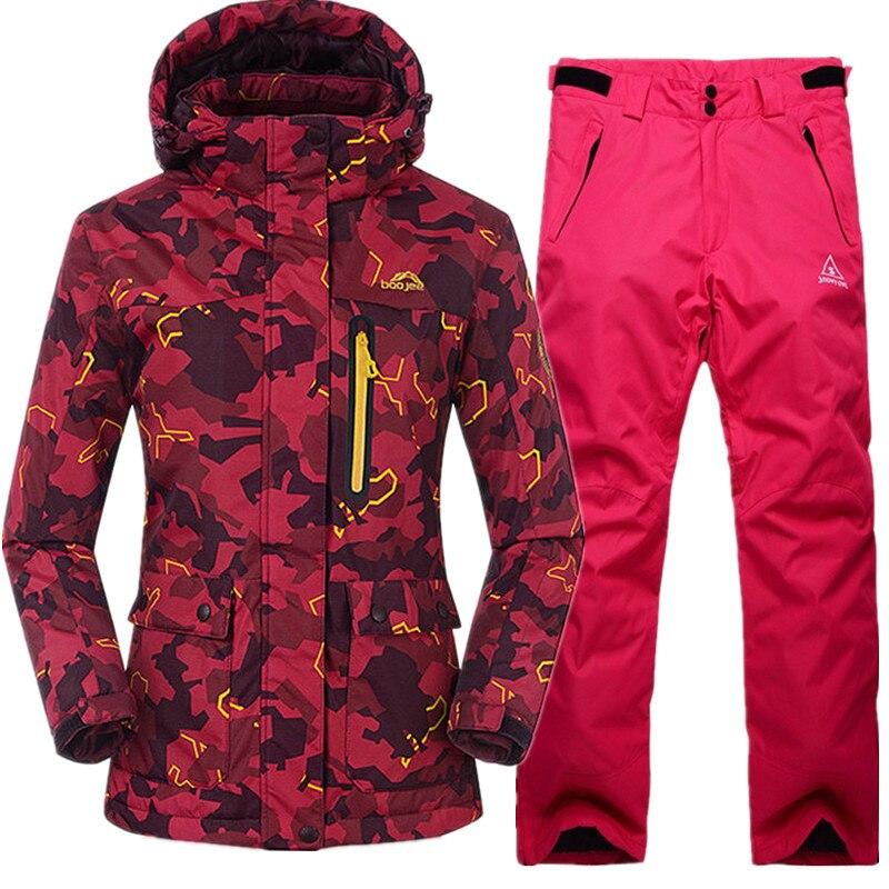 SAENSHING Winter New Ski Suits Women Waterproof Breathable Snowboard Jacket + Ski Pants Thicken Outdoor Skiing Snowboarding Suit pelliot brand ski pants women winter