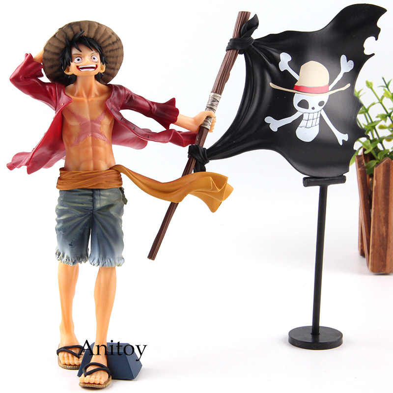 Action Figures One Piece Monkey D Luffy With Pirate Flag Pvc Onepiece Luffy Figure Collection Model Toys