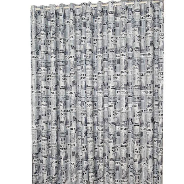 New Fashion Brown Gray English Newspaper Pattern Printed Thermal Insulated Curtains For Bedroom