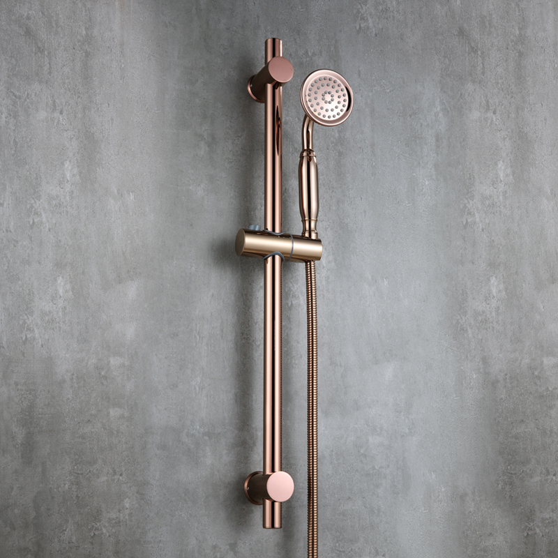 Luxury Rose Gold strong round brass Handhand Shower Head set with Adjustable stainless steel Slide Bar shower head holder - 2