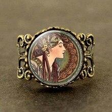 2017 New Vintage Art Nouveau Joyas Alphonse Mucha Ring Silver Link Glass Dome Photo Women Jewelry
