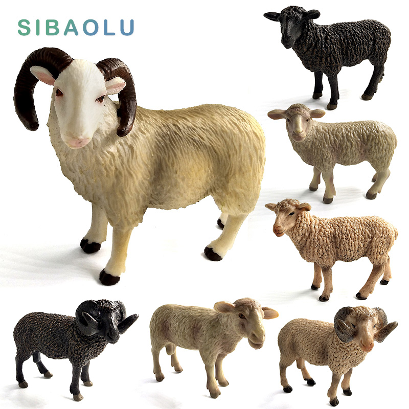 Kawaii Simulation Sheep Lovely Farm animal model Goat miniature garden figurine home decoration accessories Decor Gift For Kids