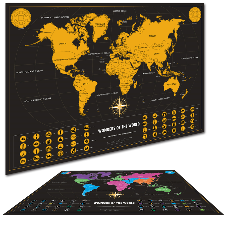 Deluxe Home Travel Scratch Flag Map Personalized World Map Poster