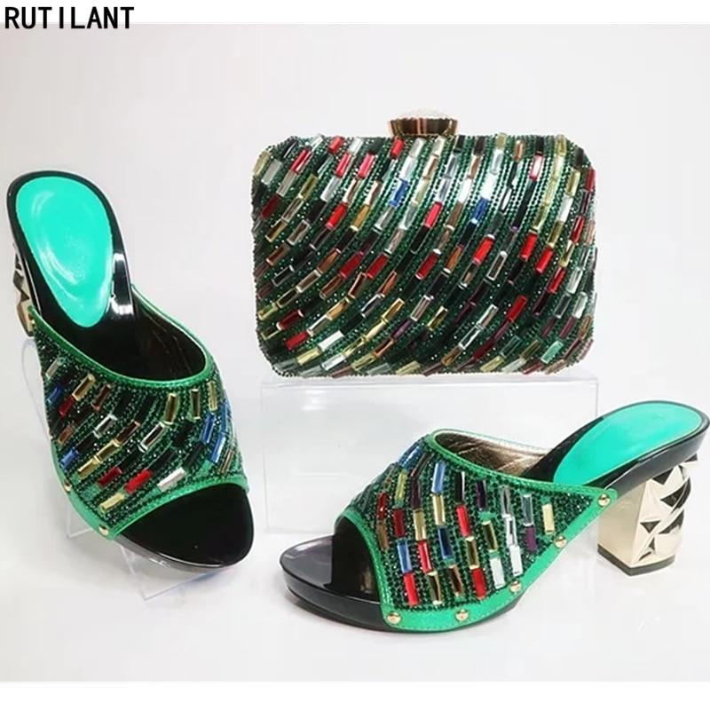 vert Avec Femmes Strass Or Ensemble Bleu Assorti Italiennes Nigérian Partie Couleur Décoré rouge Chaussures Sac or Et Chaussure t8wwgUvqa