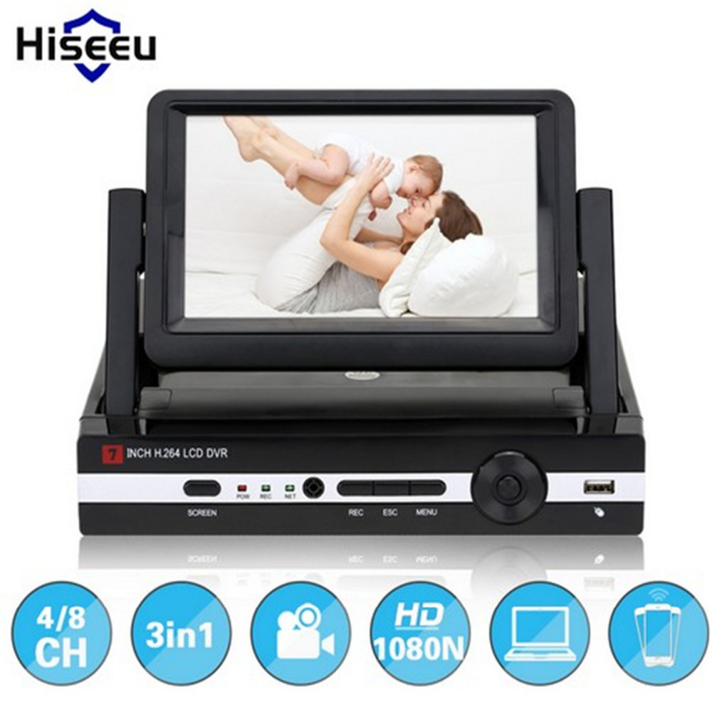 Hiseeu 2 0MP CCTV Camera 1080N 8 Channel 8CH Surveillance Video Recorder 7 LCD Screen Hybrid