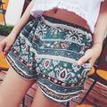 Las nuevas mujeres del Verano de La Vendimia Floral Verde Elástico Cintura Shorts Cortos Calientes Pantalones One Size