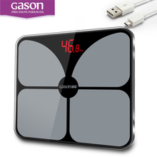 Фотография GASON A2 Bathroom Body Scales Glass Smart Household Electronic Digital Floor Weight Balance Bariatric LCD Display 180KG/50G
