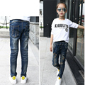 The new children 's clothing girls jeans 2016 autumn Korean Slim personality elastic waist stars drilling pants  plus size