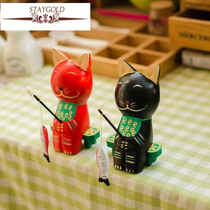 cafe bar decoration timber fishing kitten cute couple christmas wooden decorations wood carving vintage home decor 2pcsset in figurines miniatures from