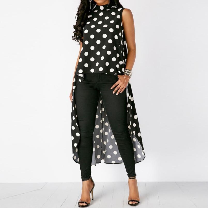 2018 New Hot Womens Fashion Casual Sleeveless Polka Dot Long   Tank     Tops   Black High Low Chiffon   Tops   High Quality Hot Topicals