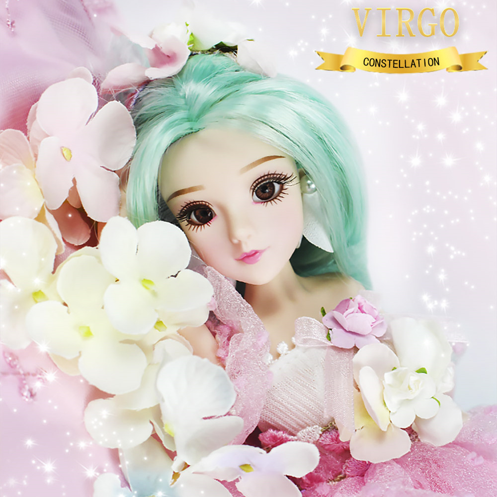 Bjd doll Girls constellation series 35cm Joint body doll Virgo fashion green hair doll for children virgo virgin hair 3 100 100