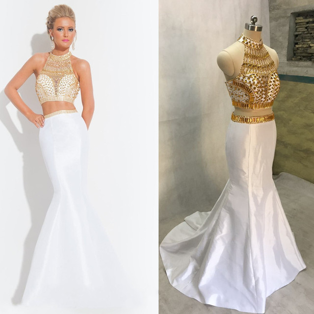 Fashionable Gold Sequined Top White Mermaid Two 2 Piece Prom Dresses ...