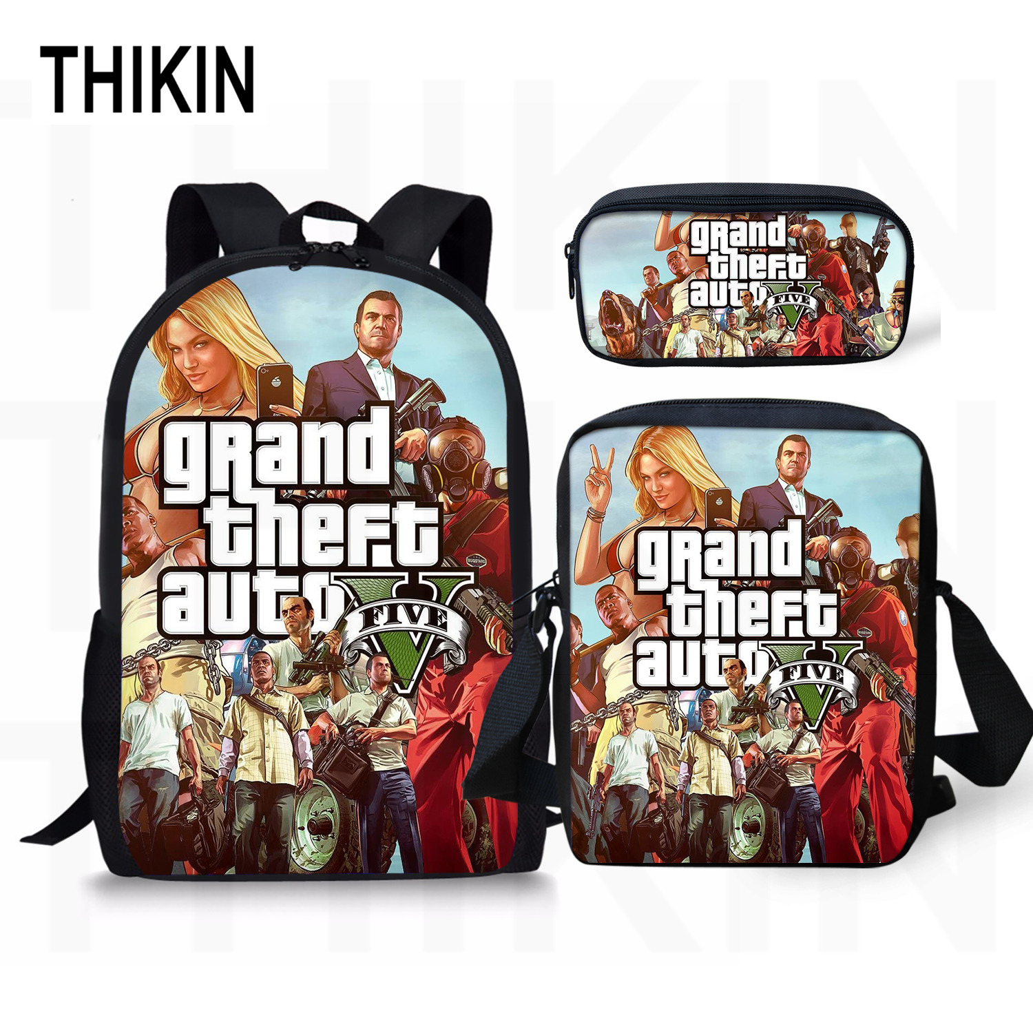 THIKIN Grand Theft Auto Printing Backpack For Teenage Boys Girls Student Fashion 3 PCS/SET School Bags GTA V Children Daily Bags