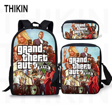 THIKIN Grand Theft Auto Printing Backpack For Teenage Boys Girls Student Fashion 3 PCS/SET School Bags GTA V Children Daily
