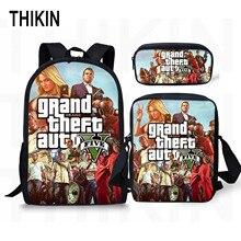 THIKIN Grand Theft Auto Printing Backpack for Teenage Boys Girls Student Fashion 3 PCS/SET School Bags GTA V Children Daily