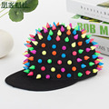 Unisex Rainbow Spikes Hedgehog Adjustable Punk Baseball Cap Hip Hop Hat Snapback Caps Solid Black / White / Red