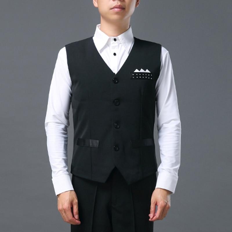 Newly Men V-Neck Ballroom Clothes Samba Tango Modern Dance Party Dress Vests 26890cc27