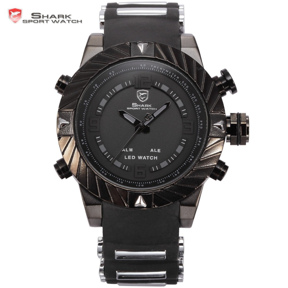 SHARK Sport Watch Brand LED Display Multiple Timezone Alarm Black Silicone Strap Relogio Men Military Orologio uomo Hour / SH165 goblin shark sport watch 3d logo dual movement waterproof full black analog silicone strap fashion men casual wristwatch sh165