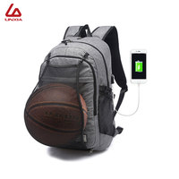 2018 Multifunction USB charging Sport Backpack With Football Basketball net School Bag For Teenager Male Soccer Ball Pack Bag