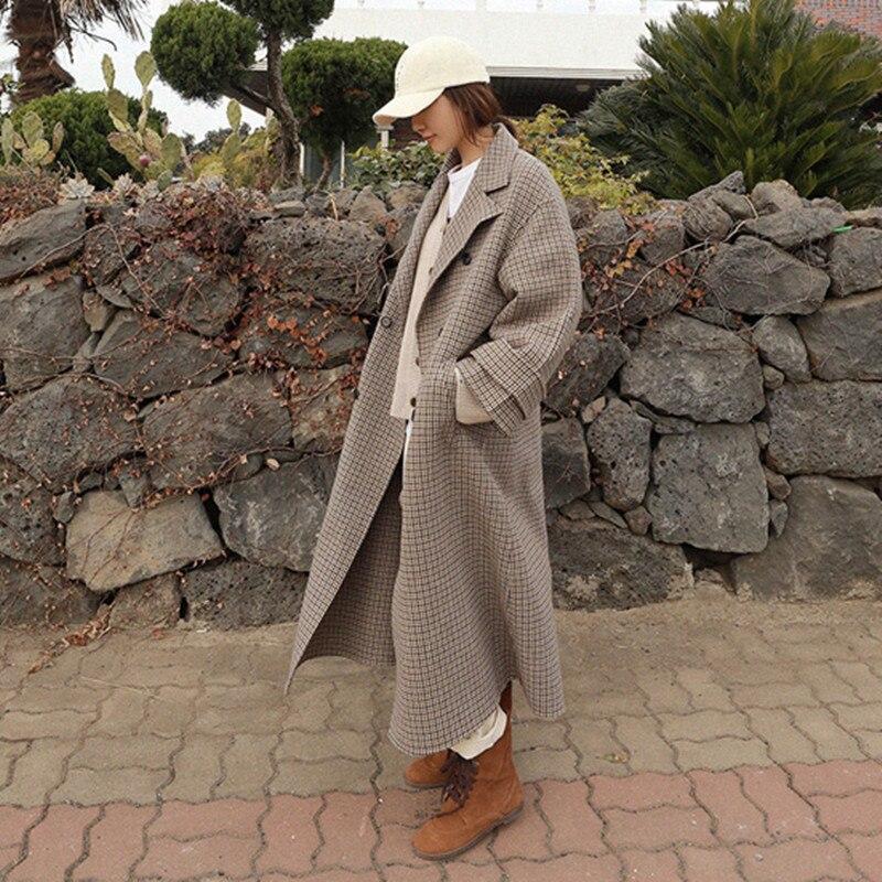 Longues Manteau Coat Plaid Hiver Pour Femmes Boutonnage Vgh Turn Vestes À Lâche 2018 Khaki Oversize Automne Manches Femme Double Col down tRqwfI6w