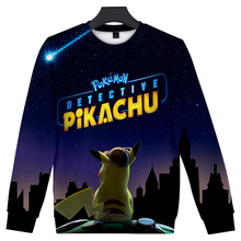 2019 New Pokemon Detective Pikachu 3D Print O-Neck Sweatshirts Women/Men Fashion Long Sleeve Sweatshirt Streetwear Clothes