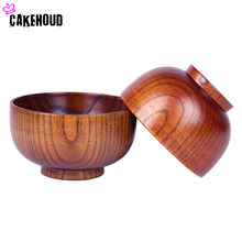 CAKEHOUD NEW Natural Jujube Wooden Bowl Soup Rice Noodles Bowls Kids Tableware Kitchen Tableware For Baby Feeding Children Bowls(China)