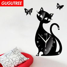 Decorate 3D cats cartoon clock art wall mirror sticker decoration Decals mural painting Removable Decor Wallpaper LF-1906