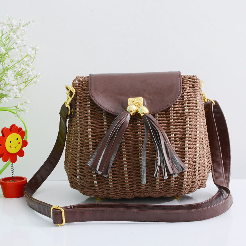 New Women Tassel Straw Bags Bohemian Female Vintage Rattan Knitted Handbag Summer Beach Lady Casual Weave Shoulder Bag SS3161 (5)