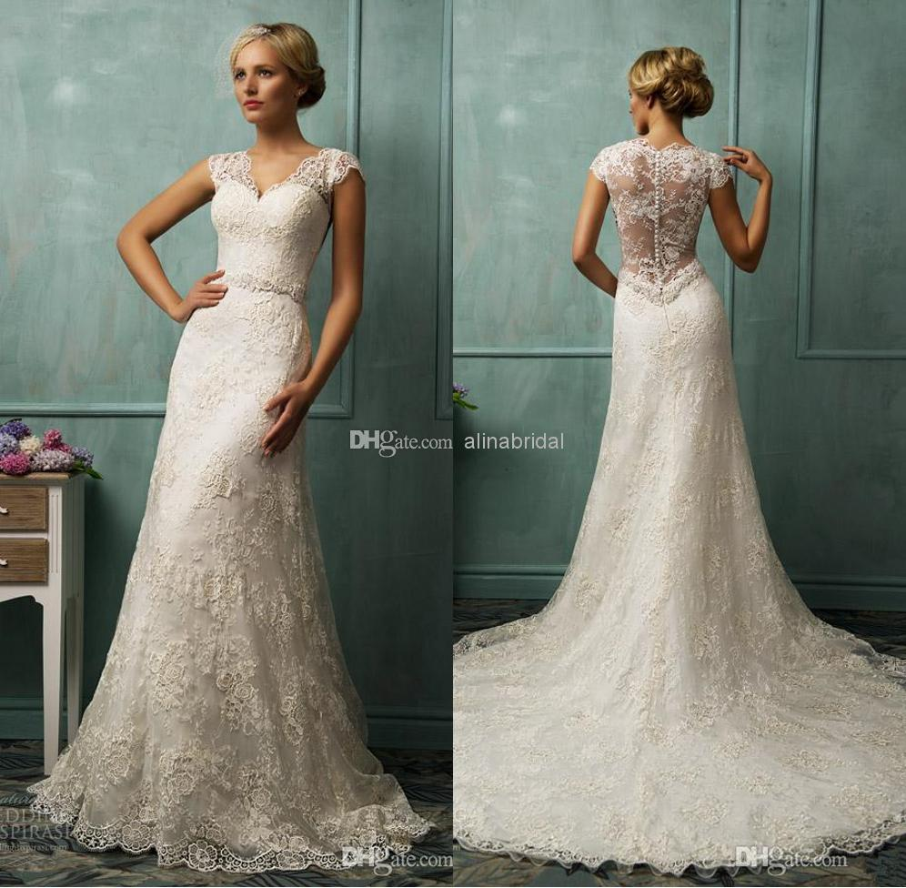 2014 Vintage Wedding Dresses Mermaid Long Lace Wedding Dress White V