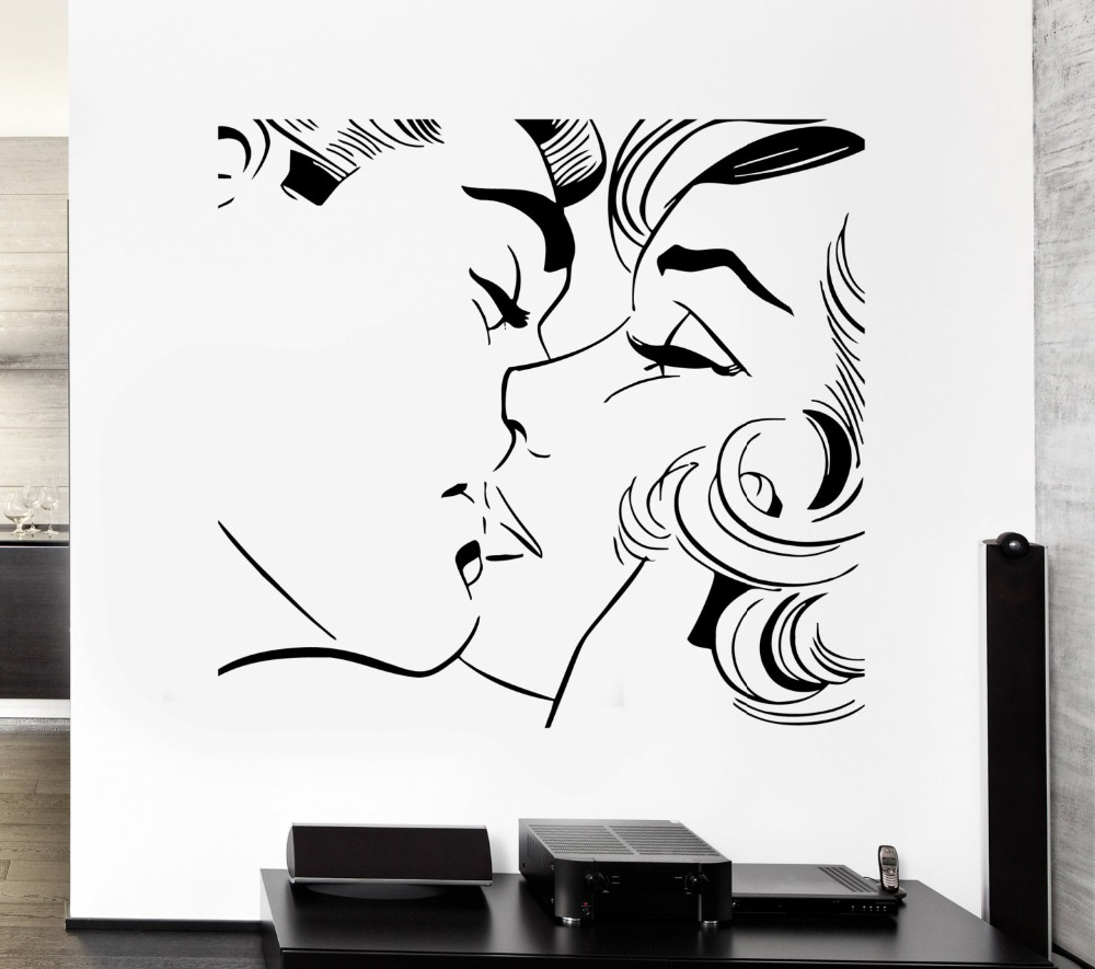Lovers Kissing Wall Decals Home Livingroom Art Decor Wall Sticker Morden Fashion Style Couple Kiss Pattern Wall Stickers M-34