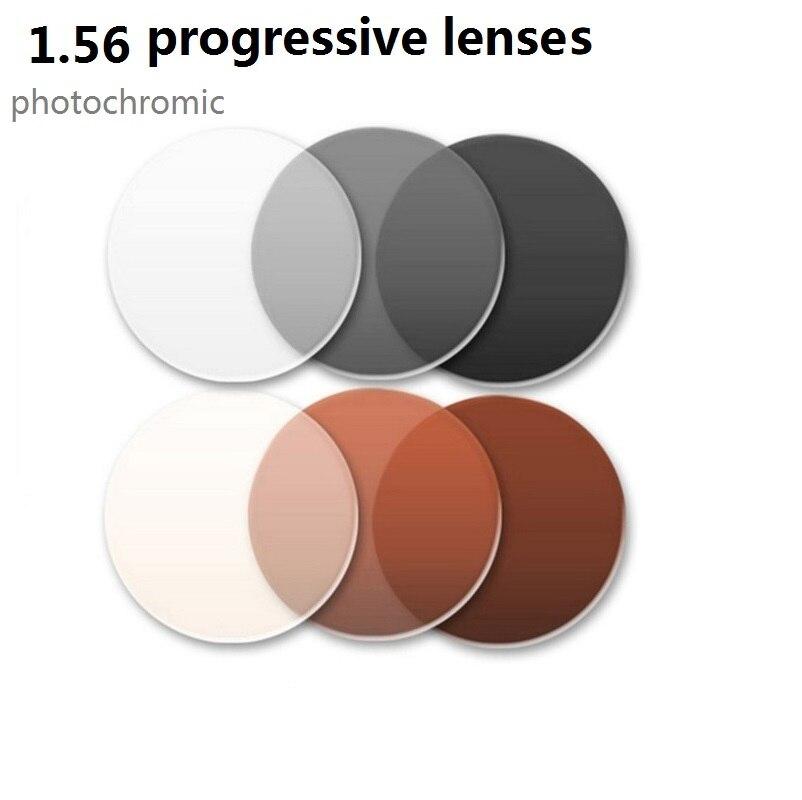 1.56 Aspherical photochromic progressive prescription lenses brown or gray colored reading glasses lenses 7 10 days customizing