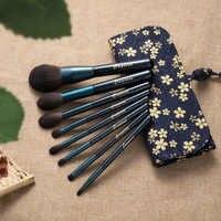 Dreamemo 8 pz/set Stellato Blu Spazzola di Trucco Set Con Il Sacchetto di Cotone di Cristallo Maniglia di Legno Prodotti di base/Highlighter/Eyeshadow Brush