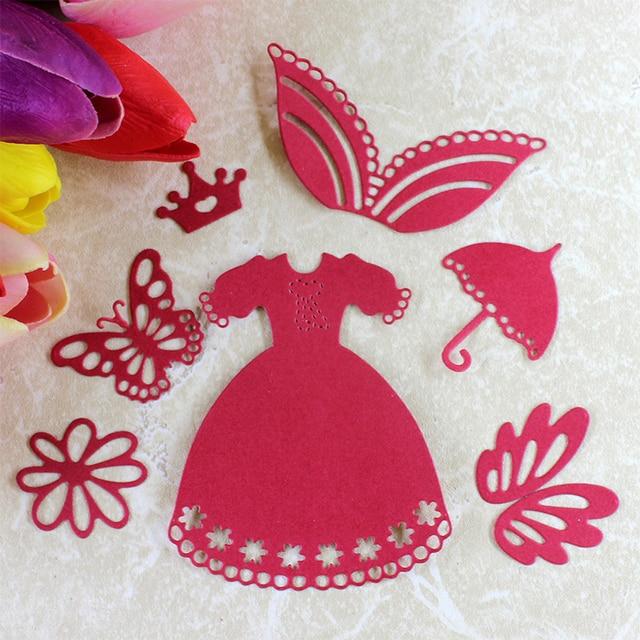 Steel Princess Dress Butterfly Umbrella Flower Cutting Dies Paper Craft Tool Template Stencils Die Cutter Metal