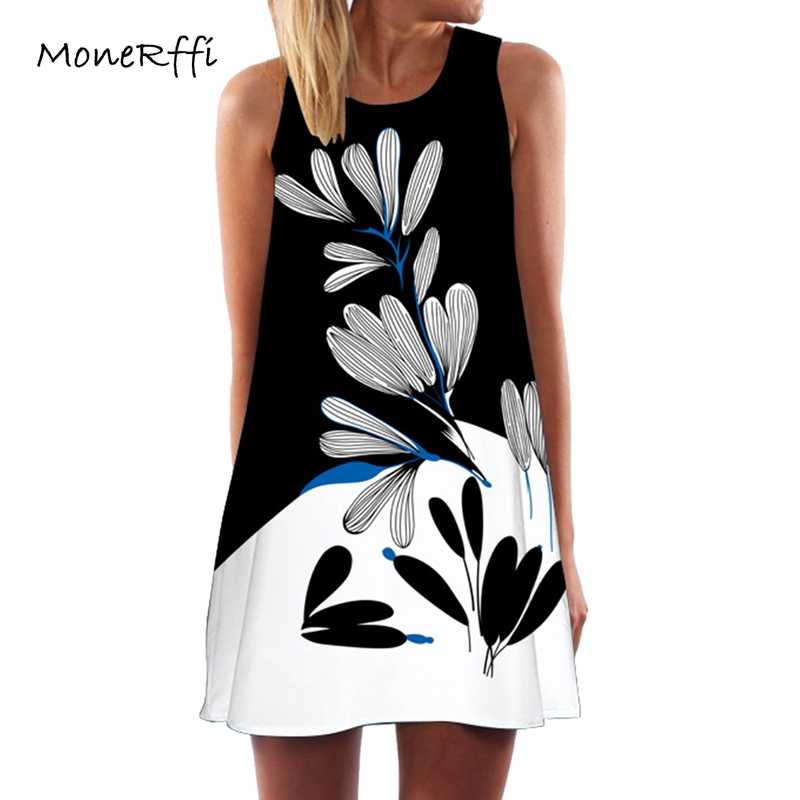 8ef350be939 MoneRffi 2018 Summer Women Sleeveless Short Dress O-Neck Vintage Print  Casual Loose Chiffon Dress