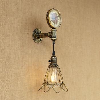 Amerikanischen LOFT vintage wand lampe indoor LED beleuchtung eisen rost industrie uhr stil für wohnzimmer schlafzimmer restaurant bar E27