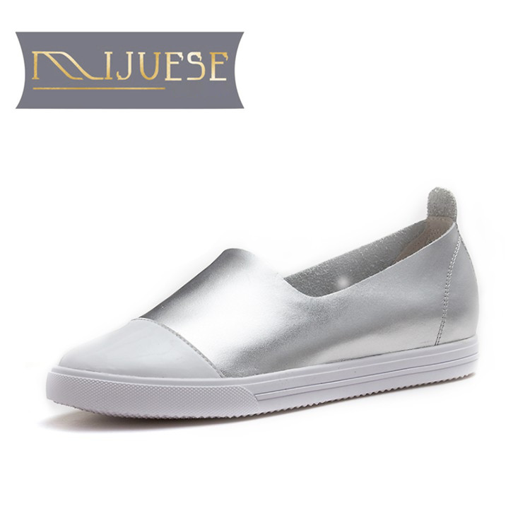 MLJUESE 2018 women flats silver color cow leather slip on Pigskin round toe spring comfortable loafers