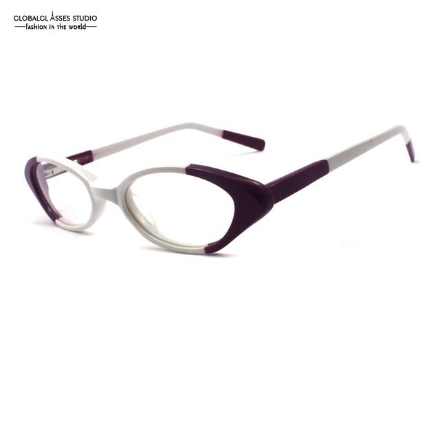 Pequeno Forma Geométrica Lente Armação de Óculos de Acetato Branco & Roxo Mulheres Do Partido Óculos Óculos de Prescrição Espetáculo Óculos Flex YX50