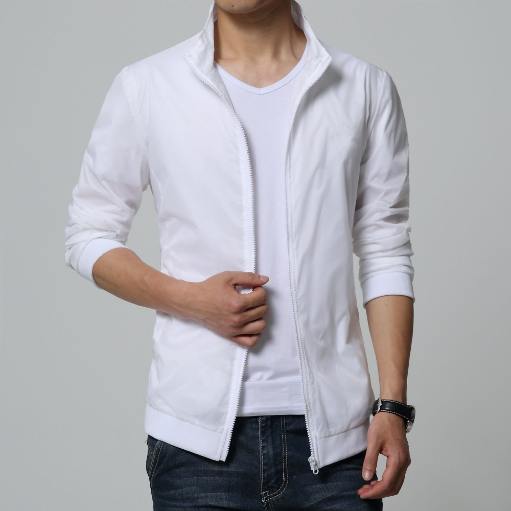 Mens white summer jacket Thin coat half see through fabric Sun protection clothing drop shipping SML big size M to 6XL slim fit