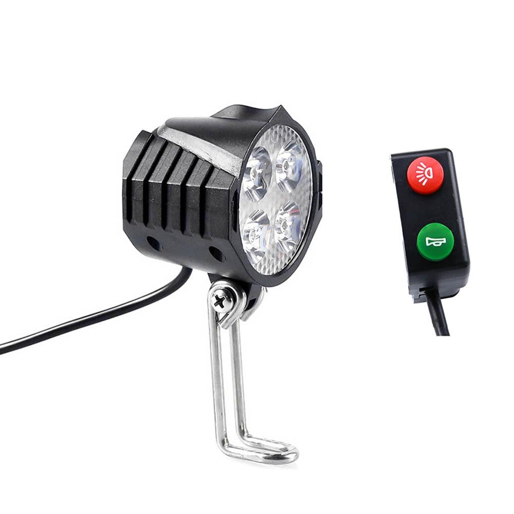 Electric Bicycle Light/ebike Light 12V 24V 36V 48V 60V 72V 80V With Horn Switch Waterproof Flashlight