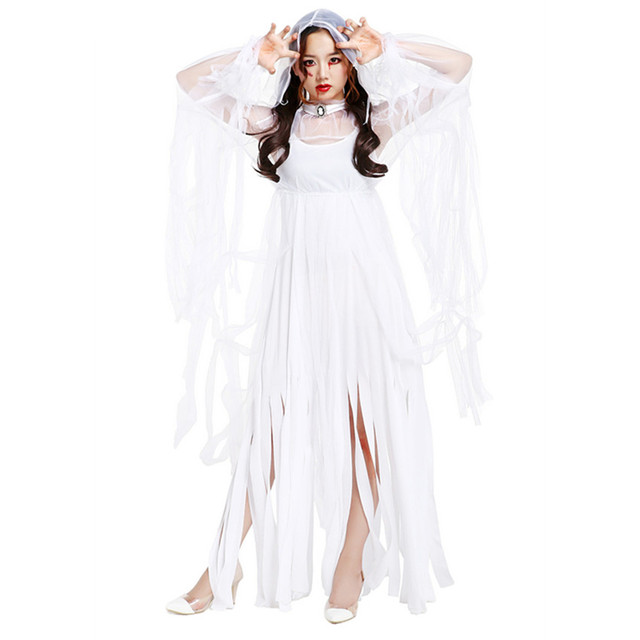 76980a8163b New Woman s Polyester Sexy Long Tassels Dress Halloween Cosplay White Ghost  Bride Costumes Spirit Festival Disfraces H1691414