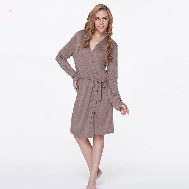 Modal bathrobe camel mid length home wear robe dressing gowns-in ...