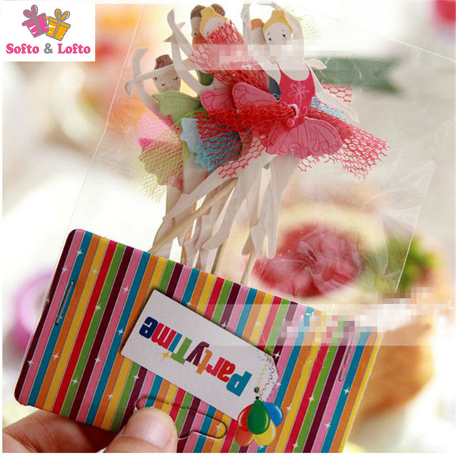Free Shipping 24pcs Lot Birthday Cup Cake Paper Crafts Toothpick